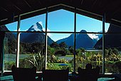 Mountain landscape through window