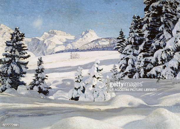 Mountain landscape with snow 19201922 painting by Cesare Maggi oil on canvas 70x100 cm Italy 20th century