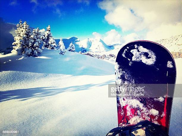 Mountain Landscape With Snowboard In Winter