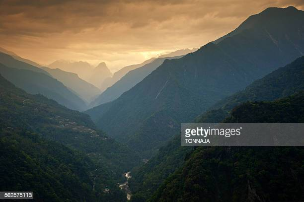 Mountain massif in North of Sikkim, India