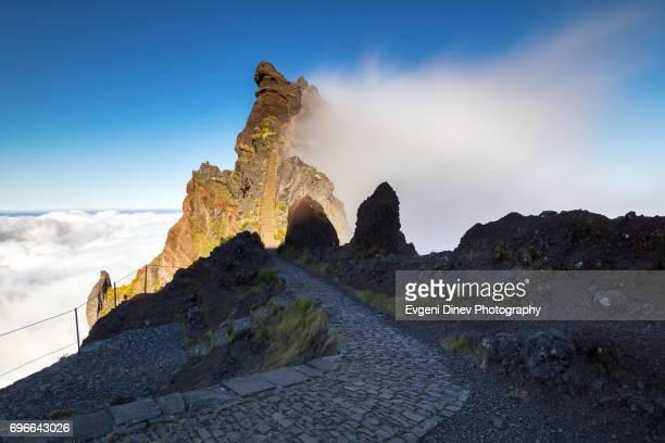Madeira, Portugal - April 31, 2017: Mountain of Madeira, path to the peak
