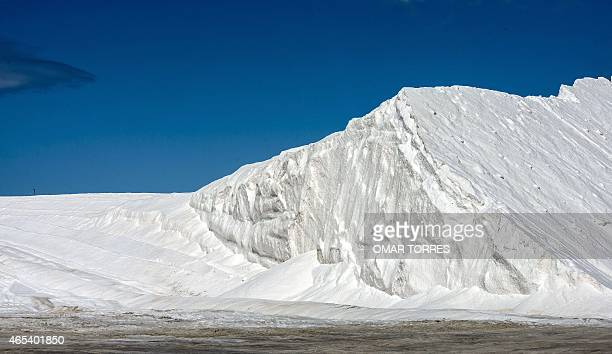 A mountain of washed salt at the Exportadora de Sal company plant in Guerrero Negro Baja California Sur state Mexico on March 03 2015 The The salt...