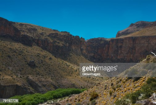 Mountain on a landscape, Pinturas River, Patagonia, Argentina : Stock Photo