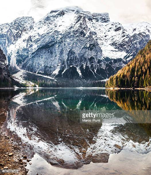 Mountain over the lake of Braies reflection