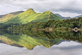 A scenic view of one the Lake District's favourite views at Derwentwater, Keswick. The image features Catbells mountain, reflected in calm still water.