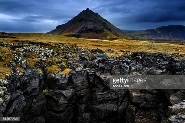 Mountain peak towers over basalt rock formations on Snaefellsnes Peninsula coastline between Arnarstapi and Hellnar on overcast autumn afternoon, Iceland