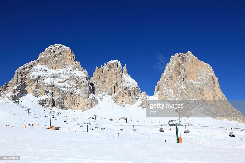 Mountain peaks in Col Rodella Ski arena, Dolomites : Stock Photo