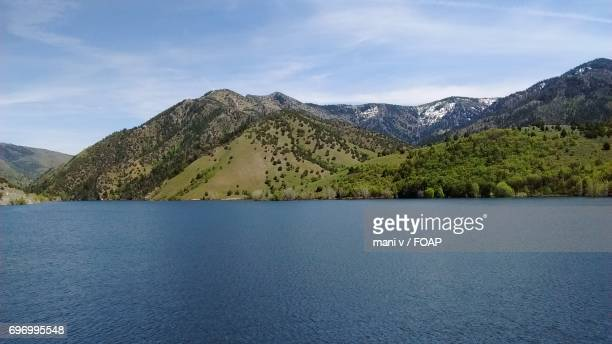 Mountain range at porcupine reservoir, utah