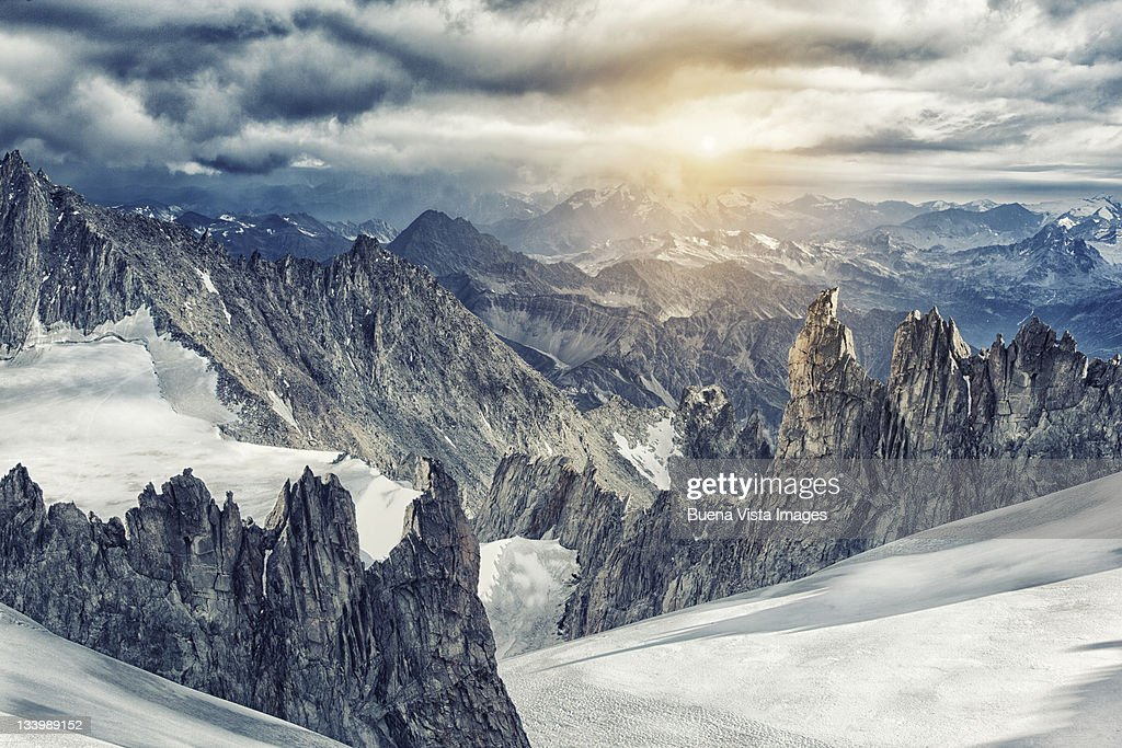 Mountain range in the Mont Blanc Massif - Collage