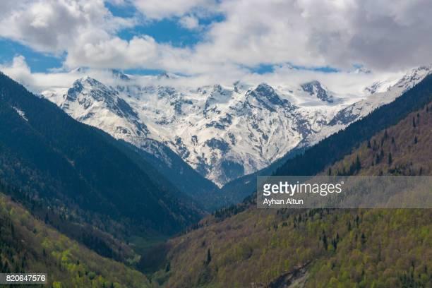 Mountain range near Medieval town Mestia,Upper Svaneti region,Georgia