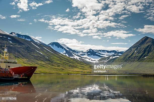 Mountain range on Siglufjordur, North Iceland.