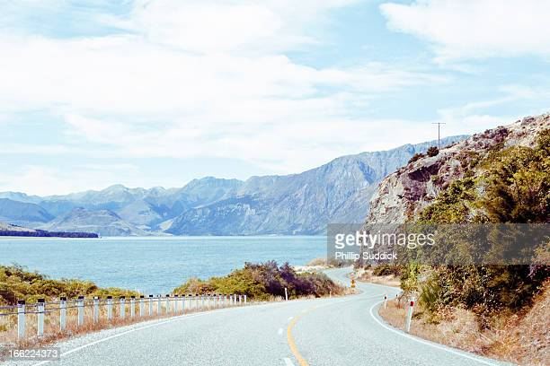 Mountain range road trip south island New Zealand