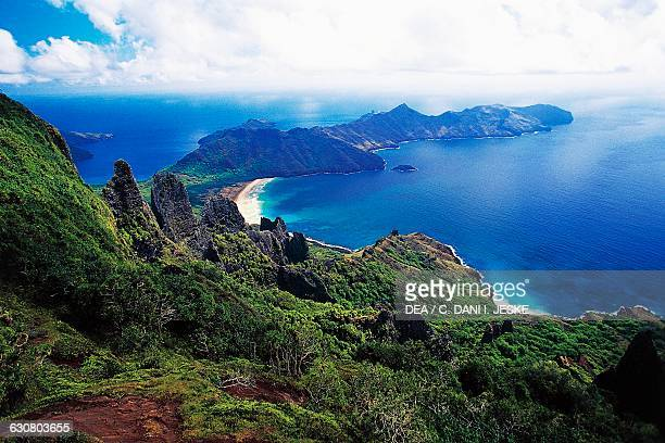 Mountain ranges with vegetation Haatuatua bay aerial view Nuku Hiva Marquesas islands French Polynesia