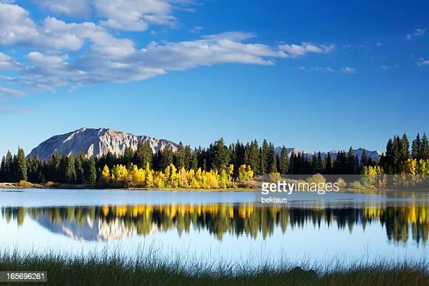 Mountain Reflection on Autumn Lake in Colorado Rocky Mountains