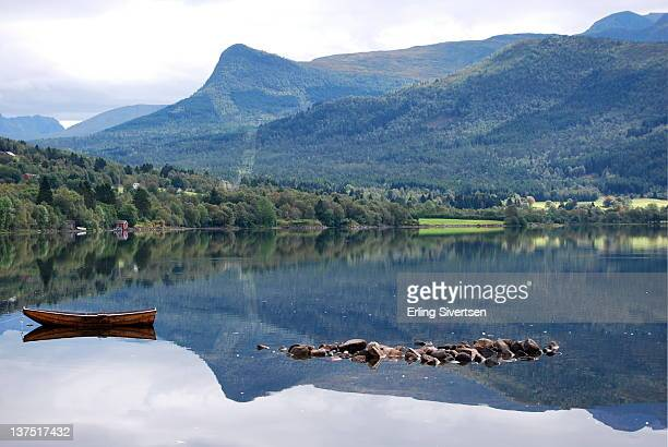 Mountain reflection on river