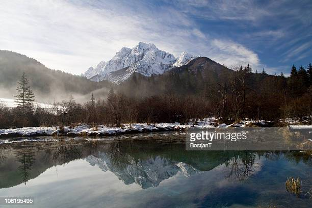 Mountain Reflections with Lake During Winter
