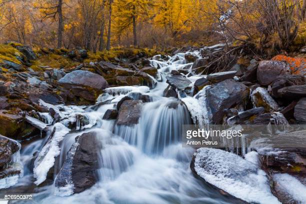 Mountain river with ice in autumn