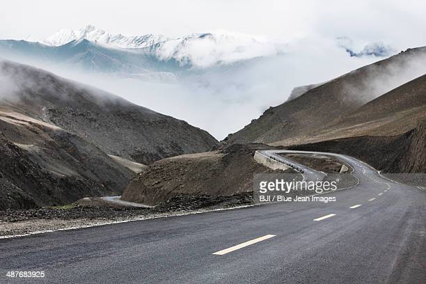 Mountain road in Tibet, China