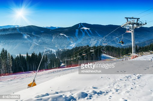 mountain ski resort : Stock Photo