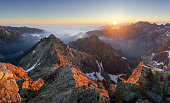 Mountain sunset panorama landscape in Tatras, Rysy, Slovakia.