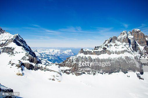Mountain Swiss Alps tops covered in snow : Stock Photo