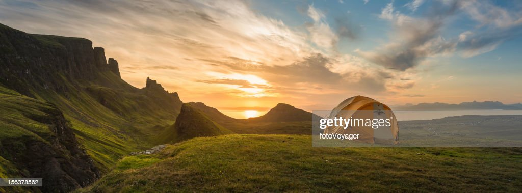 Mountain tent sunrise dawn on idyllic camp panorama : Stock Photo