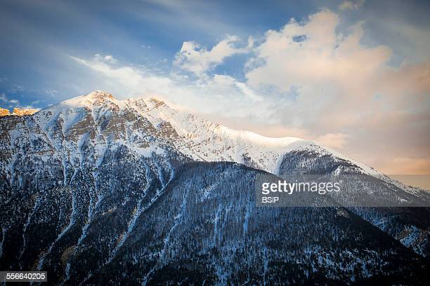Mountain The Ubaye Valley in the Alpes de HauteProvence France