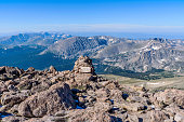 A Summer morning summit view from top of Longs Peak, looking from summit entry/exit point of Keyhole Route towards south-west, Rocky Mountain National Park, Colorado, USA.