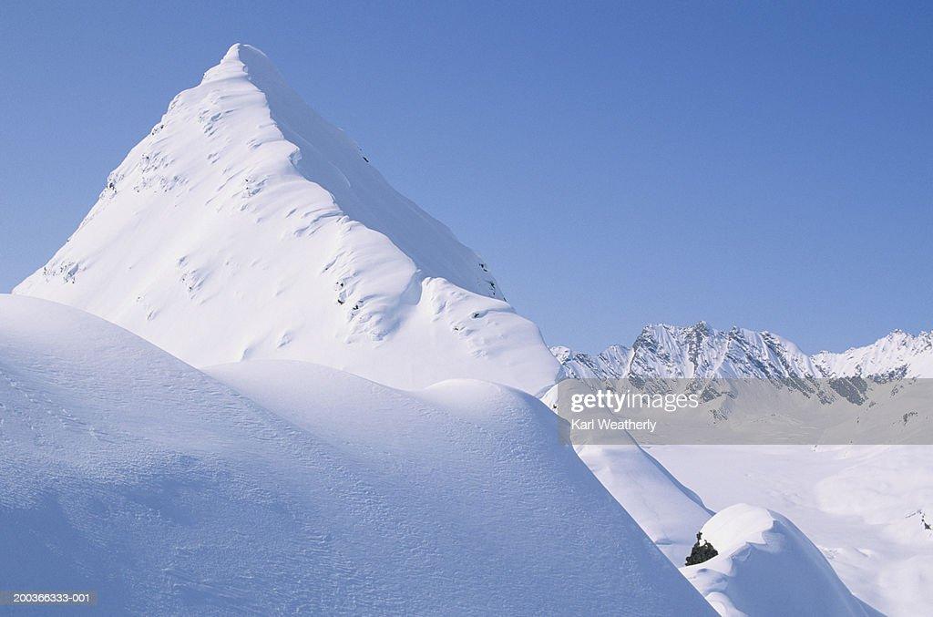Mountain top, Chugach Mountains, Alaska, USA, elevated view : Stock Photo