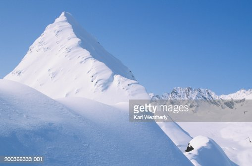 Mountain top, Chugach Mountains, Alaska, USA, elevated view : Stock Photo