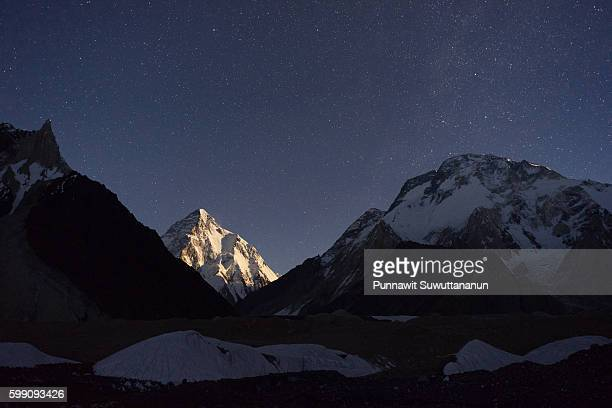 K2 mountain under the moon light, Concordia camp
