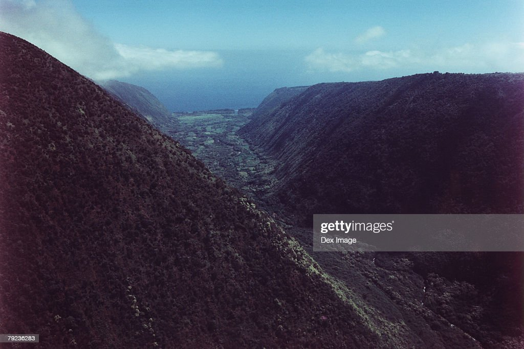 Mountain valley, Big Island, Hawaii, aerial view : Stock Photo