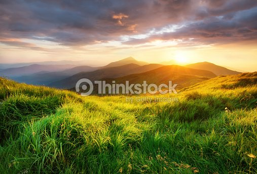 Mountain valley during sunrise. Beutiful natural landsscape in the summer time. : Stock Photo