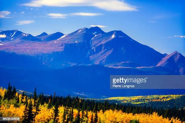 Mountain view from Klondike highway from Whitehorse-Yukon to Skagway Alaska in autumn - Yukon Territory Canada
