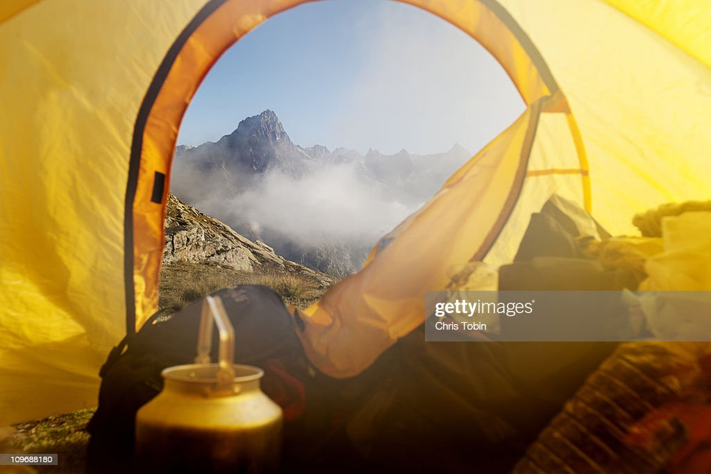 Mountain view from the tent : Stock Photo