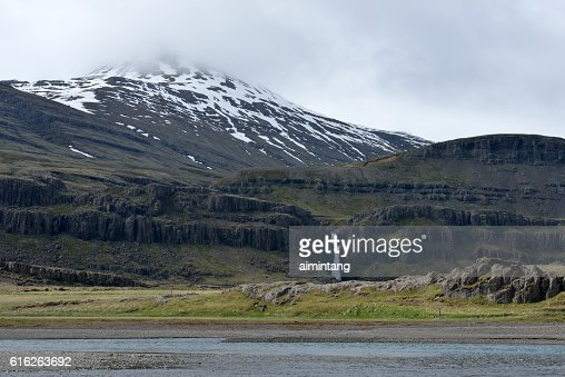 Mountain view with waterfall in Iceland : Stock Photo