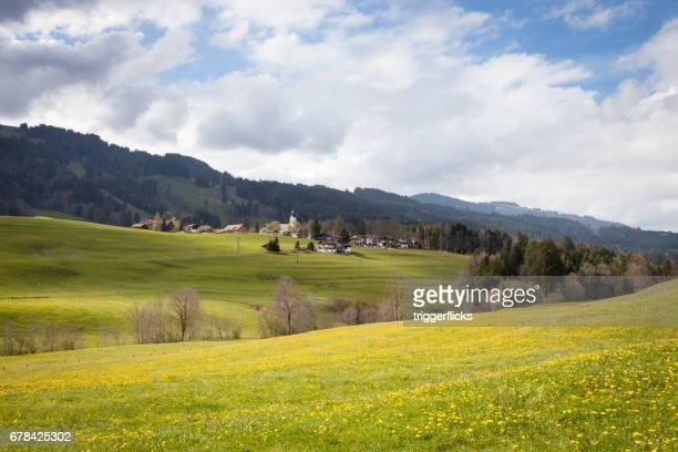 Mountain village in the Allgau Alps in springtime