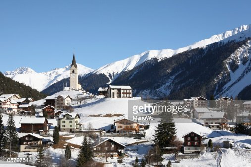 Mountain Village in Winter Alps near Davos