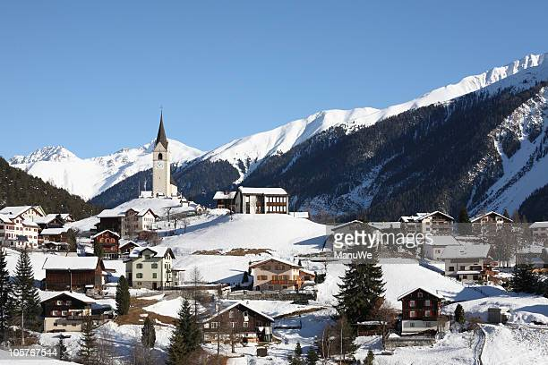 Mountain Village in den Alpen in der Nähe von Davos