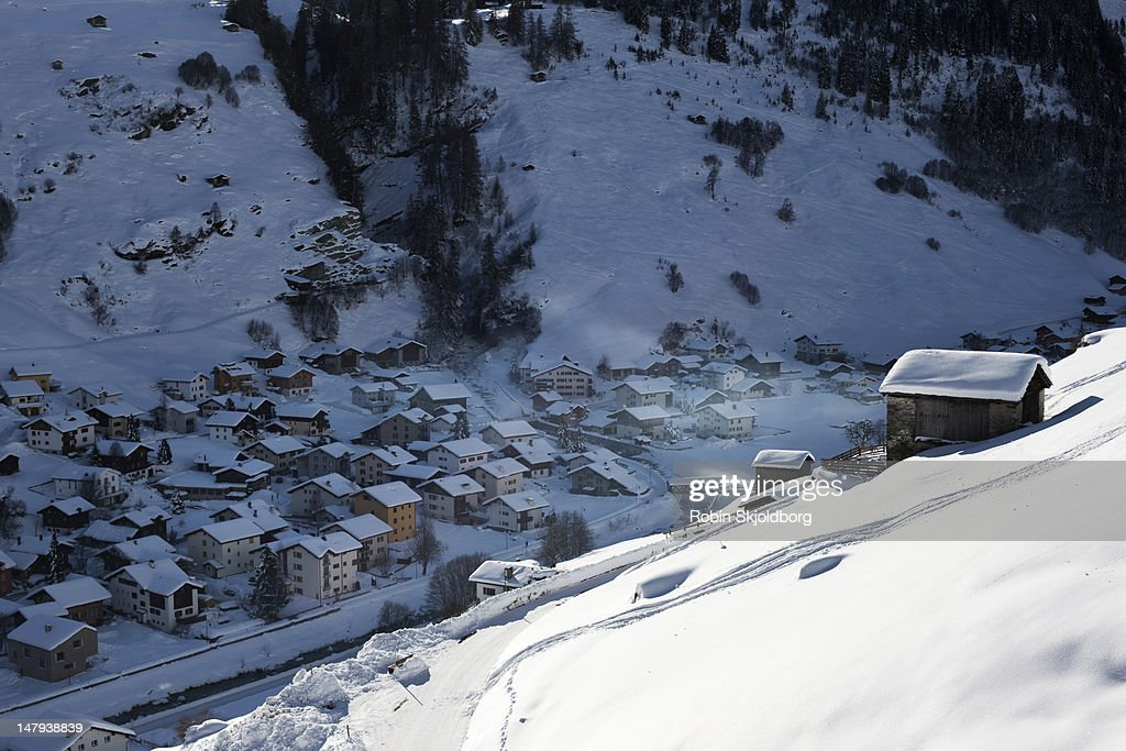 Mountain village with snow. : Stock Photo