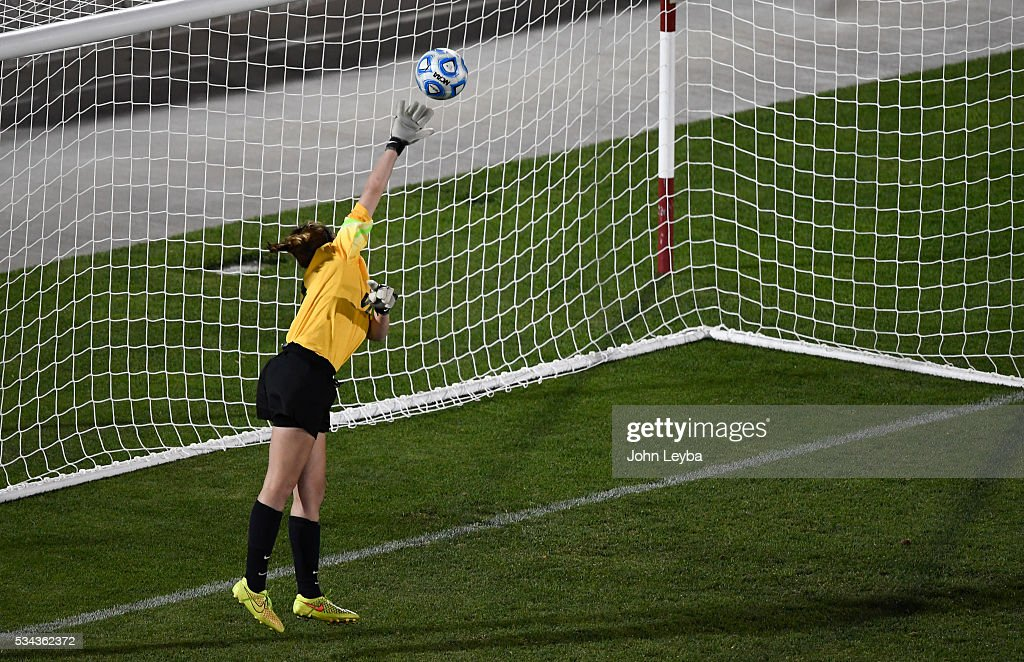 Mountain Vista Golden Eagles gk Kylee Love (1) can't make a save as the ball sails over her hand for a score by Grandview Wolves mf Avianne Burris (5) in the second half during the 5A state soccer championship May 25, 2016 at Dicks Sporting Goods Park. Grandview Wolves defeated Mountain Vista Golden Eagles 2-1.