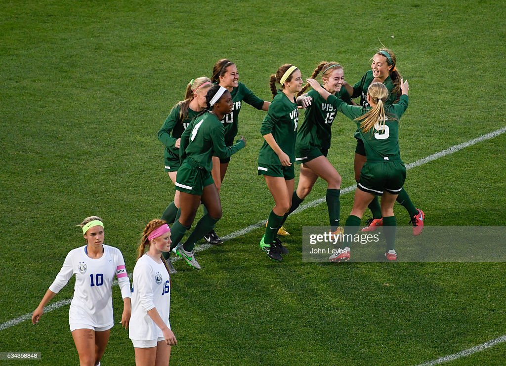 Mountain Vista Golden Eagles mf Haley Schueppert (C) (15) celebrates her penalty kick with teammates in the first half during the 5A state soccer championship May 25, 2016 at Dicks Sporting Goods Park.