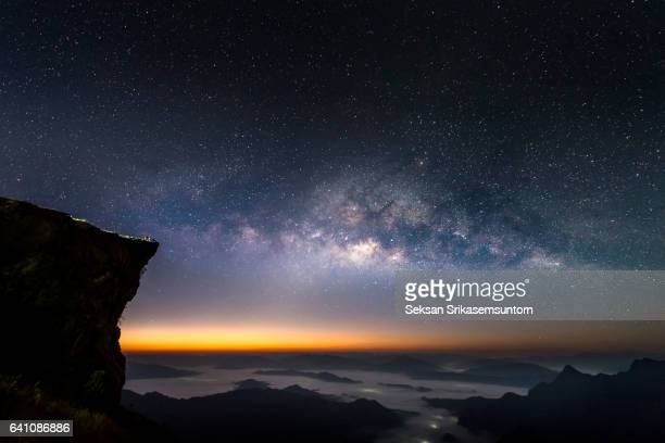 Mountain with Galaxy at Sunrise