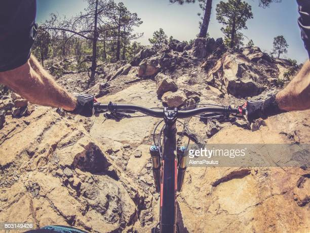 Mountainbike ride in Tenerife POV, Descending Volcano Mount Teide