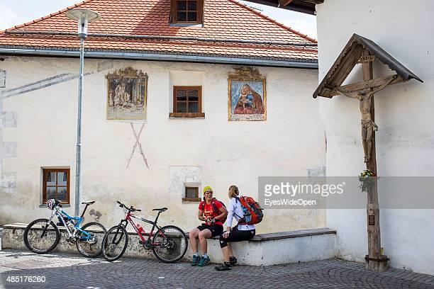 Mountainbiker and cyclists in Val Venosta around the villages Schleis Laas Schluderns Glurns and Mals Malles where the train stops on April 13 2013...