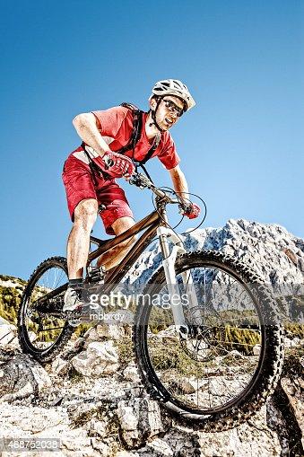 Mountainbiker on steep trail