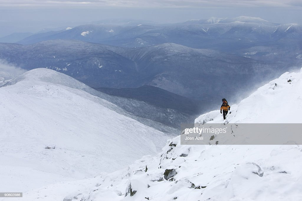 Mountaineer on  the summit cone of Mt. Washington on the Tuckerman's Ravine Trail.