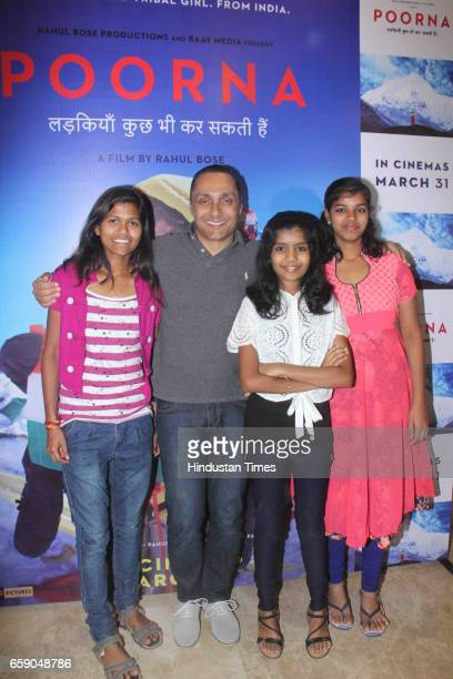 Mountaineer Poorna Malavath Bollywood actor and producer Rahul Bose and Aditi Inamdar who plays Poorna during the screening of film 'Poorna Courage...