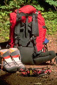 A mountaineer's climbing gear lays beside a trail The climber is a student with the National Outdoor Leadership School Ptarmigan Traverse North...