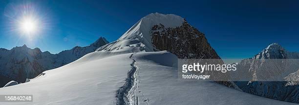 Mountaineers climbing Himalaya peak Nepal
